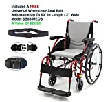 "Karman S-Ergo115Q18RS - 18"" Seat Width, Ultra Lightweight, Ergonomic Wheelchair Model S-Ergo 115, Frame Color Rose Red - Swing In & Away Footrests, Quick Release Wheels & FREE Wheelchair Seat Belt!"