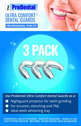 ProDental Thin and Trim Mouth Guard for Grinding Teeth - 3 Pack, Made in USA | Night Guard Stops Bruxism - Teeth Clenching | Use as Customizable Teeth Whitening Dental Guard | FDA Approved Material