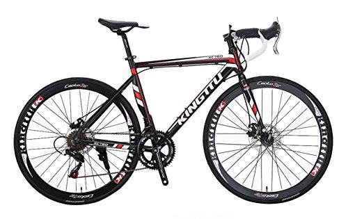 VTSP Road bike 700c XC760 自転車 ロードバイク シマノTZ 50 shimano14 段変速 ロードバイク アルミフレーム ディスクブレーキ 通勤 通学 B073B3BPGF白黑