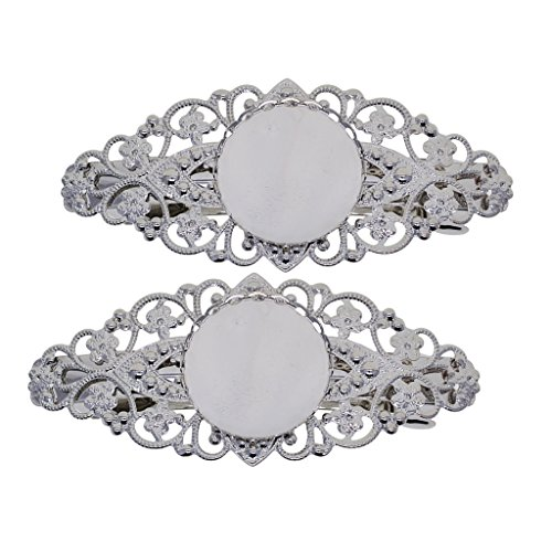 MagiDeal 2 Pieces Hair Clip Filigree Flower Blank Setting Base DIY Making Findings Hairwear Suppies ()