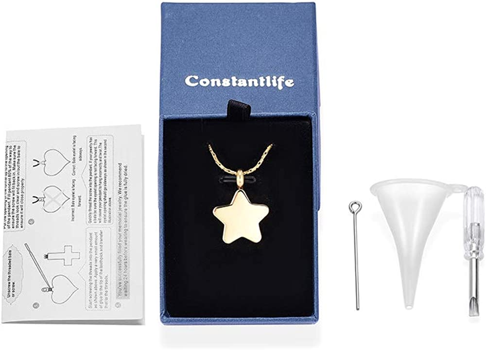 Star Pendant Necklace Memorial Urn Ashes Holder Stainless Steel Customize Keepsake for Loved One constantlife Cremation Jewelry for Ashes