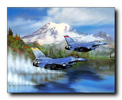 Aviation Wall Decor Picture Fighting Falcon F-16 Jet Painting Art Print Poster (16x20)