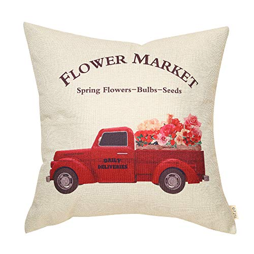 Fjfz Rustic Farmhouse Decoration Flower Market Sign Vintage Red Farm Truck Décor Spring Summer Gift Cotton Linen Home Decorative Throw Pillow Case Cushion Cover with Words for Sofa Couch, 18