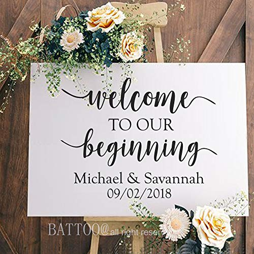 BATTOO Wedding Welcome Decal Personalized Wedding Signs for Glass Wood Chalkboard Metal Sign Couple Names and Wedding Date Rustic Wedding Decal 18