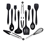 Silicone Kitchen Utensils Set 11-Piece Cooking Tool and Gadget Set Baking Whisk Brush Spatulas (Black)