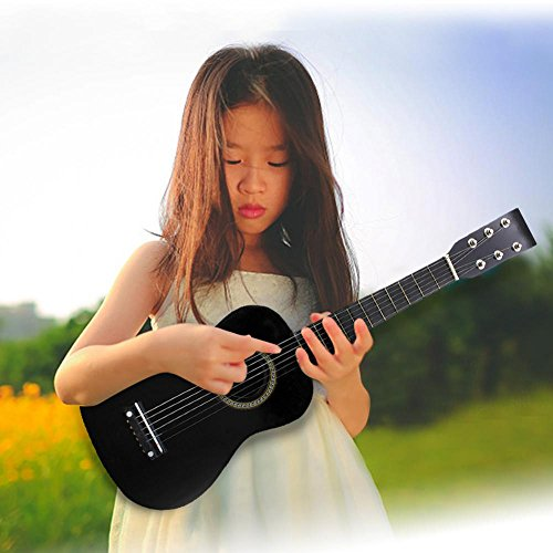 23 Inch Guitar for Kids, Basswood Mini Guitar Kids Musical Instrument Toy for Beginner(Black) by Dilwe (Image #1)