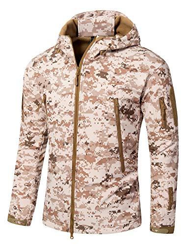YFNT Men's Softshell Tactical Hooded Jacket Military Fleece Jacket Outdoor Coat ()