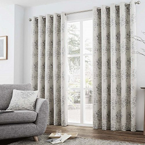 Elmwood Trees Fully Lined Eyelet Grommet Top Curtains – Silver > 90″ Wide x 90″ Drop For Sale