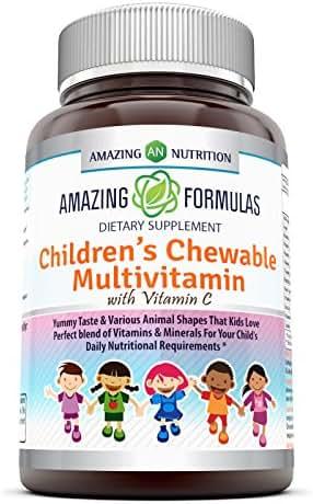 Amazing Formulas Children's Chewable Multivitamin with Vitamin C Vitamin A 1,250 IU - 120 Tablets (Non-GMO)