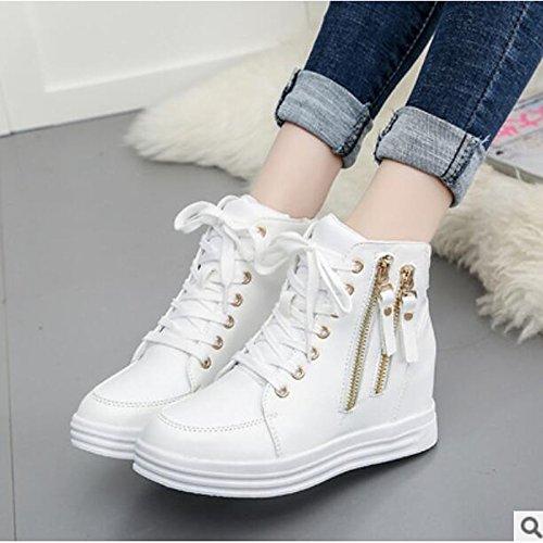 Otoño cerrada Zapatos y PU botines plana White de puntera blanco casual Botas Invierno for Mujer botas Confort HSXZ negro tobillo de dtWnwqAd8