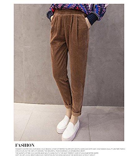Dormery Casual Corduroy Pants Elastic Waist Plus Size Korean Loose Capris Solid Cotton Pleated Harem Pants B7N009Z Khaki XL