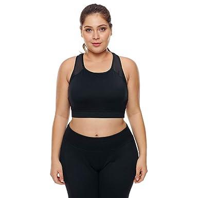 Chaleco de Sujetador Deportivo para Mujer Yoga Fitness Tops, Negro ...