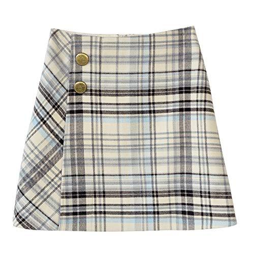 Dabuwawa Women Vintage Plaid Skirt High Waist Button A-Line Mini Checked Skirts Medium Grey from Dabuwawa
