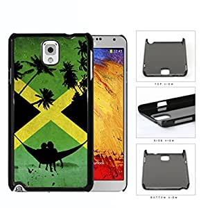 Jamaican Flag With Hammock And Palm Trees Silhouette Hard Plastic Snap On Cell Phone Case Samsung Galaxy Note 3 III N9000 N9002 N9005