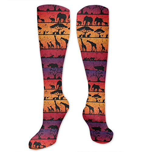 - Retro African Amboseli National Park Unisex Knee High Long Socks