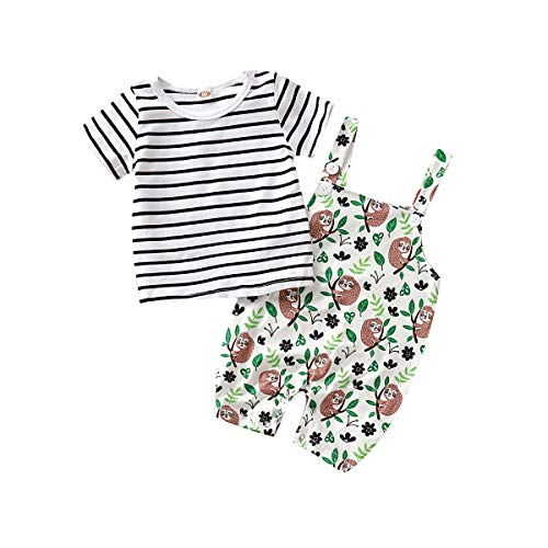 XiaoReddou Baby One Piece Outfit Boys Girls Summer Sleeveless Romper Animal Print Bodysuit (2Pcs Outfits Set, 12-18 Months)]()