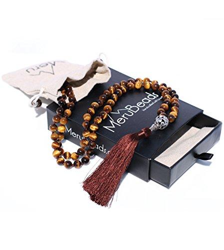 Premium Exotic Tiger Eye Mala Beads Necklace - Japa Mala - Buddha Necklace - Tigers Eye Necklace - Buddhist Prayer Beads - Tassel Necklace - 108 Mala Beads Meditation - Meru Beads Necklace