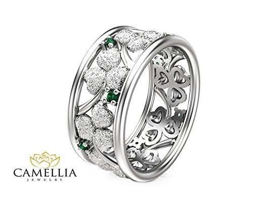 Amazon.com: 14K White Gold Emerald Ring Clover Design