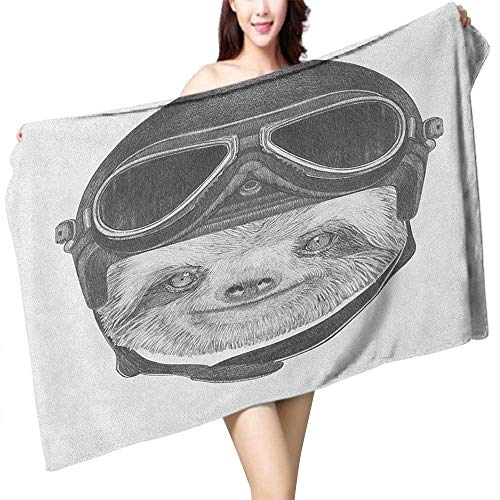 homecoco Custom Bath Towel Sloth Hand Drawn Portrait of a Sloth with Vintage Effect Biker Rider Animal in Urban Life W10 xL39 Suitable for bathrooms, Beaches, Parties