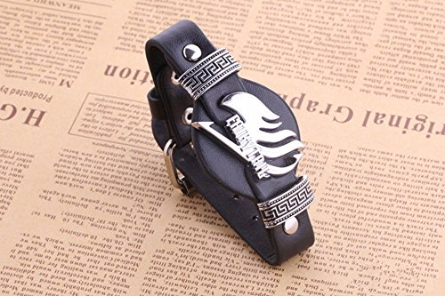 Punk Heavy Metal Styleleather Bracelet Strap Wristbands Hand Strap (Black)