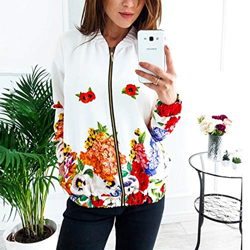 ZFFde Invierno Floral Bomber Baseball Jacket Women Stand Collar manga larga cremallera escudo (Color : White, tamaño : M)