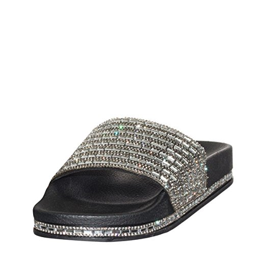 Bamboo Womens Open Toe Jeweled Rhinostone Slide Flip Flops Flat Sandal Slippers 7 Black - Bamboo Flip Flop Sandals