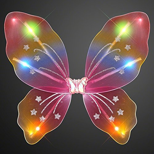Light Up Rainbow Fairy Butterfly Wings LED Halloween Costume for Trick or Treating and Night Time Safely -