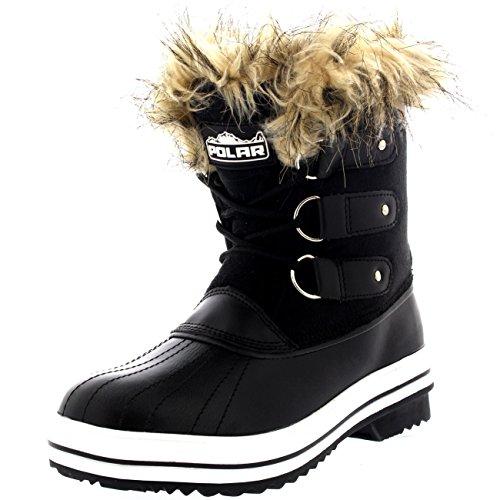 Womens Fur Cuff Lace Up Rubber Sole Short Winter Snow Rain Shoe Boots - 9 - BLS40 YC0080 (Cuff Snow)