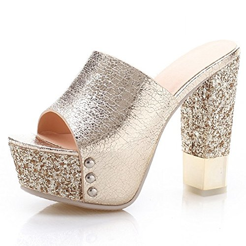 Lady Fashion Sexy Gold Heel Thick Sandals LongFengMa Patform Shoes High Women q0wnH