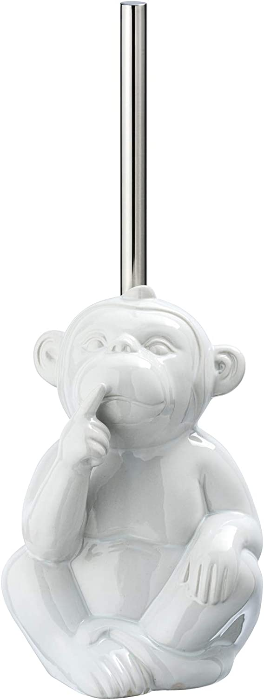 Blanco cer/ámica 15 x 69 x 20 cm WENKO DIE BESSERE IDEE Monkey Quiet-Escobillero de WC