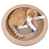 Cat Scratch Lounge Bed with Catnip - Large Scratcher Pads Scratching Posts Corrugated Cardboard Pet Toys (Round)