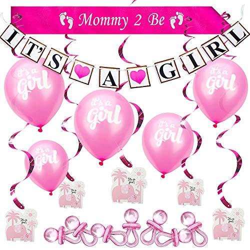 ARTIT Baby Shower Set Girl Pink Decoration Party Bundle Kit Hottest Favors - Its a Girl Banner, Balloons, Mommy Sash, Foil Elephant Swirls, Large Acrylic Pacifiers for Table Scatter Confetti