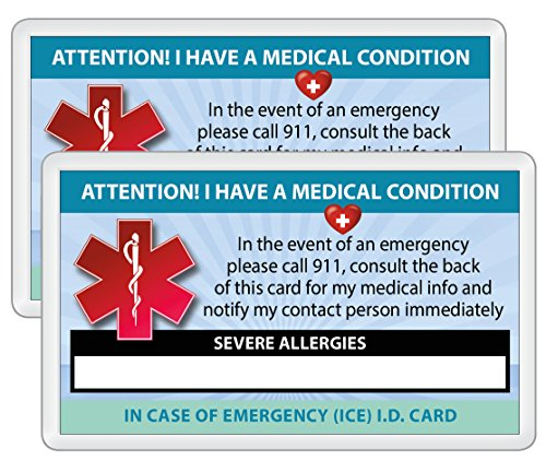 2 Pk. SEVERE ALLERGIES Medical Condition ICE Alert In Case of Emergency I.D. Identification Wallet Card Heavyweight 32 Pt. CardStock - Our Thickest (Qty. 2 w/laminated pouches from (Medical Id Wallet Card)