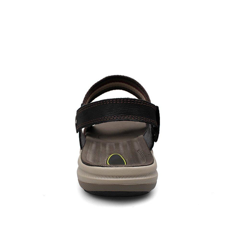 Xiaoqin Herren Offene Spitze Casual Leder Breathable Sandale Sandalen Rutschfeste Einstellbare Sommer Strand Sandalen Sandale (Farbe : schwarz, Größe : 41 1/3 EU) schwarz 6c164a