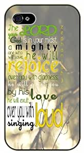 The Lord, your God is in your midst, a mighty one will save - Zephaniah 3.17 - Bible verse iPhone 5C black plastic case
