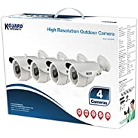 KGUARD Security HW212IPK4 CAM KIT- IR Bullet Type 65 Night Vision Indoor/Outdoor Day & 4x Cameras Kit (White)