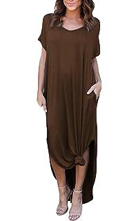 eabda7afe12469 MAGIMODAC Maxikleid Sommerkleid Strandkleid Casual Kleid Freizeitkleid Kleider  Lang für Damen mit Taschen 34 36 38