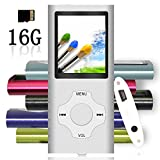 Tomameri - MP3 / MP4 Player with Rhombic Button, Including a 16 GB Micro SD Card and Maximum support 32GB, Compact Music & Video Player, Photo Viewer, Video and Voice Recorder Supported - Silver