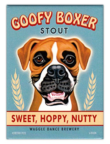 Retro Dogs Refrigerator Magnets - Goofy Boxer Stout - Vintage Advertising Art