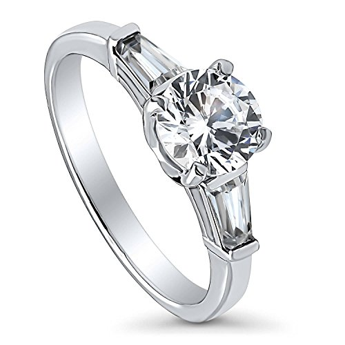 BERRICLE Rhodium Plated Sterling Silver Round Cubic Zirconia CZ 3-Stone Anniversary Promise Engagement Ring 1.5 CTW Size 5 (Round Brilliant With Tapered Baguettes Engagement Ring)
