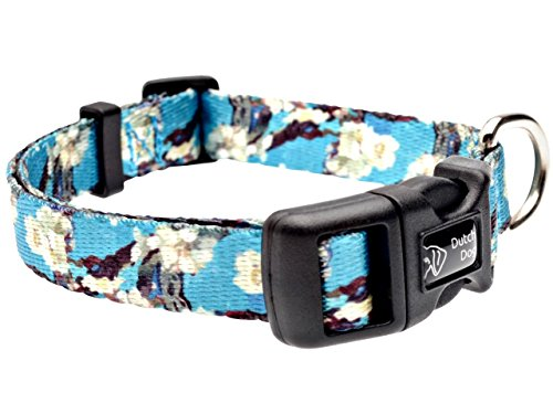 DoggyRide Fashion Dog Collar, 10 by 15-Inch, Van Gogh Almond Blossom, Turquoise/Cream