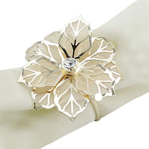 Elinq Set of 12 Napkin Holder 3D Flower Napkin Rings Handmade Serviette Buckle Holder Wedding, Party, Dinner