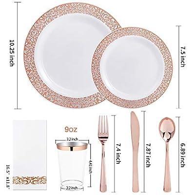 "IOOOOO 160pcs Lace Dinnerware Set, 20 Rose Gold Dinner Plates 10.25"", 20 Dessert Plates 7.5"", 40 Forks, 20 Spoons, 20 Knives, 20 Plastic Cups 10oz, 20 Linen Like Paper Napkins"