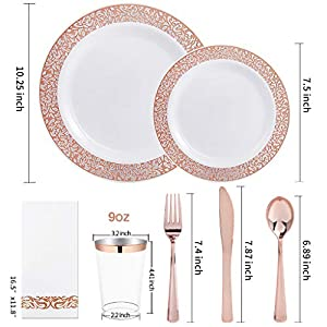 I00000 160pcs Lace Dinnerware Set, 20 Rose Gold Dinner Plates 10.25″, 20 Dessert Plates 7.5″, 40 Forks, 20 Spoons, 20 Knives, 20 Plastic Cups 10oz, 20 Linen Like Paper Napkins