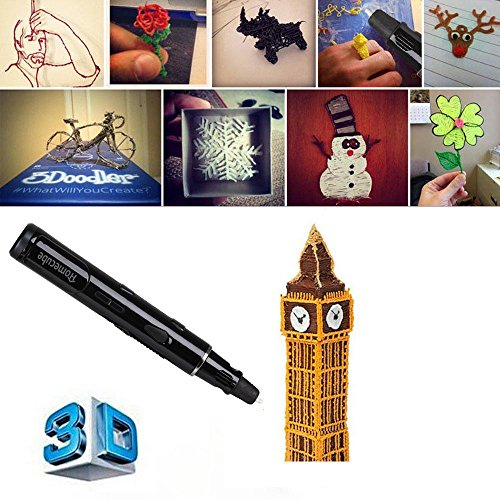 3D Printing Pen, Homecube 3D Stereo Drawing Pen with 3 FREE 1.75mm Pla Filament 3D Drawing pen, Intelligent 3D Doodler Pen Promote Children's Brain Development with Safety Holder(Black)