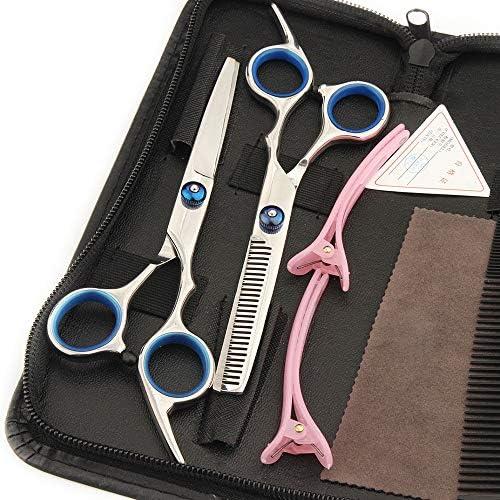 L.J.JZDY Hair Scissors Blue 6 Inch Cutting Thinning Styling Tool Hair Scissors Salon Hairdressing Shears Regular Flat Teeth Blades
