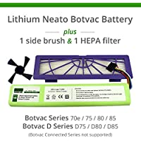 Lithium Neato Replacement Battery For Neato Botvac 70e, 75, 80, 85 and Botvac D75, D80, D85 Series, 7200mAh (Side Brush and HEPA Filter included)
