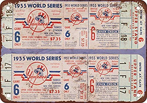 FDerks 1955 World Series Tickets Yankee Stadium Vintage Look Reproduction Pub Home Decor Metal Signs 8X12 Inches