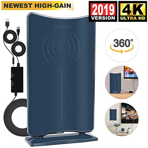 [2019 Latest HIGH GAIN] Amplified HD Digital TV Antenna - Long 80 Miles Range HDTV Antenna Indoor Amplifier Signal Booster, Support 4K 1080P & All Older TV's Free Channels w/Low Error Rate -Navy Blue