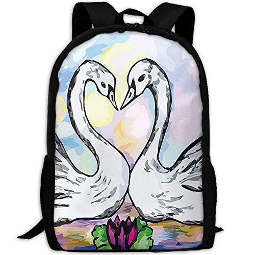 CRSJBB219 Canvas Lover White Swan Partners in Pond Laptop Backpack Cute School College Shoulder Bag Women Men ()